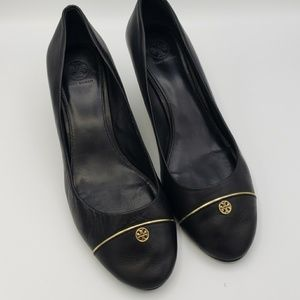Tory Burch Black Wedge Shoes Size 11